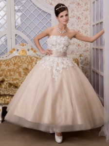 Champagne A-Line / Princess Strapless Ankle-length Appliques Tulle Wedding Dress