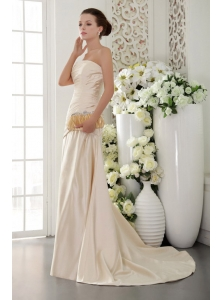 Champagne Column / Sheath Strapless Brush / Sweep Taffeta Pleat and Beading Prom Dress