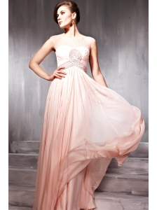 Light Pink Empire Bateau Floor-length Chiffon Beading Prom Dress