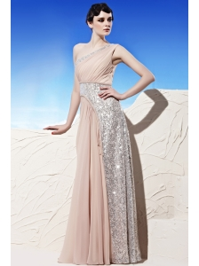 Champagne Empire One Shoulder Floor-length Chiffon Sequins Prom/Evening Dress