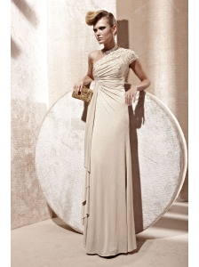 Champagne Empire One Shoulder Floor-length Elastic Woven Satin Beading Prom Dress