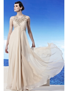 Champagne Empire Scoop Floor-length Chiffon Appliques Prom Dress