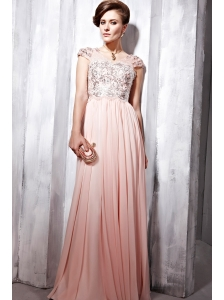 Baby Pink Empire V- neck Floor-length Chiffon Ruch Prom Dress