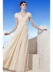 Champagne Empire V-neck Floor-length Chiffon Prom / Evening Dress