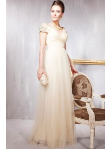 Champagne Empire V-neck Floor-length Tulle Beading Prom / Party Dress