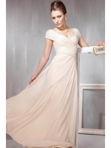 Champagne V- neck Empire Floor-length Chiffon Beading Prom Dress