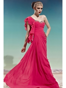Coral Red Empire One Shoulder Floor-length Chiffon Beading Prom Dress