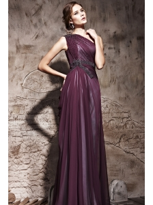 Dark Purple Empire One Shoulder Floor-length Chiffon and Elastic Wove Satin Beading Ruch Prom / Evening Dress