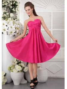 Discount Empire Strapless Knee-length Taffeta Ruch Hot Pink Bridesmaid Dress