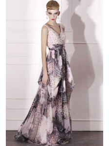 Empire V-neck Floor-length Print Beading Prom Dress