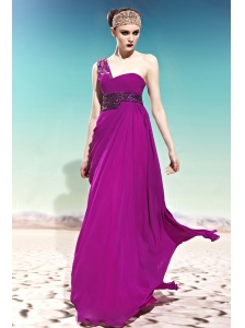 Fuchsia Empire One Shoulder Floor-length Chiffon Beading Prom Dress