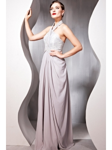 Gray Empire Halter Floor-length Chiffon Beading Prom Dress