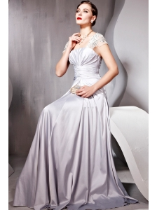 Gray Empire Square Floor-length Elastic Woven Satin Ruch Prom Dress