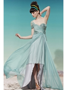 Apple Green Empire Sweetheart High-low Chiffon Sequins Prom / Party Dress