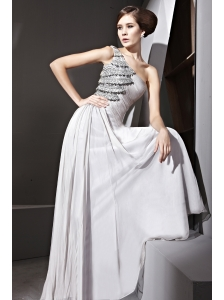 Grey Empire One Shoulder Floor-length Chiffon Beading Prom Dress