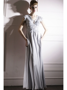 Grey Empire V-neck Floor-length Chiffon Beading Prom Dress