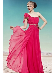 Hot Pink Empire One Shoulder Floor-length Chiffon Ruch Prom Dress