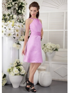 Lavender Empire High-neck Knee-length Satin Bridesmaid Dress
