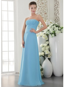 Light Blue Empire Strapless Floor-length Chiffon Ruch Bridesmaid Dress