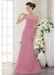 Baby Pink Column / Sheath V-neck Brush / Sweep Chiffon Ruch Bridesmaid Dress