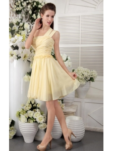3e1a2801dc6 Light Yellow Empire One Shoulder Short Chiffon Pleat Bridesmaid Dress  US   79.1920