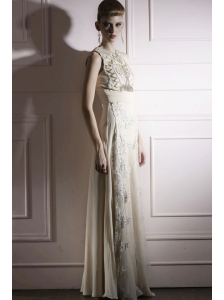 Light Yellow Empire High-neck Floor-length Chiffon Beading and Appliques Prom Dress