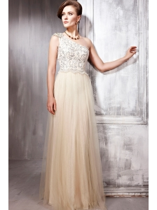 Champagne Empire One Shoulder Floor-length Tulle Sequins Prom / Party Dress