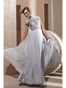Grey Empire High-neck Floor-length Chiffon Appliques Prom / Celebrity Dress