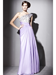 Lilac Empire One Shoulder Floor-length Chiffon Beading and Ruch Prom / Celebrity Dress