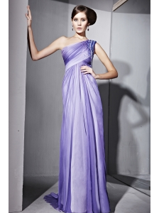 Ombre Color Empire One Shoulder Brush Train Chiffon Beading Prom Dress