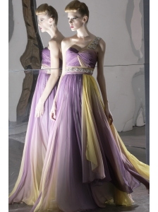 Ombre Colour Empire One Shoulder Floor-length Chiffon Beading Prom Dress