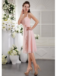 Baby Pink A-Line / Princess Straps Tea-length Chiffon Hand Flower Bridesmaid Dress