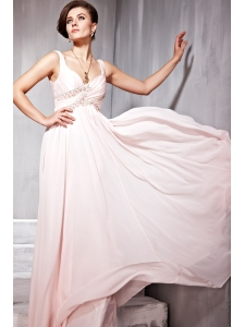 Baby Pink Empire Straps Floor-length Chiffon Beading Prom Dress