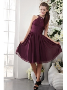 Buragudy Empire High-neck Knee-length Chiffon Beading Bridesmaid Dress