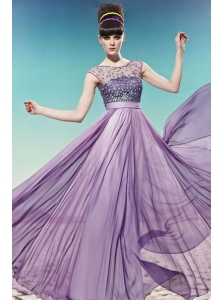 Lavender Empire Scoop Floor-length Chiffon Beading Prom / Pageant Dress