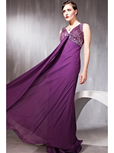 Purple Empire V-neck Floor-length Chiffon Beading Prom Dress