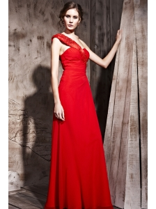 Red Column / Sheath One Shoulder Floor-length Chiffon Beading Prom / Evening Dress