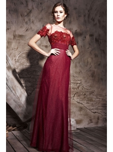 Burgundy Column Scoop Neck Floor-length Sequin and Tulle Appliques Prom / Evening Dress