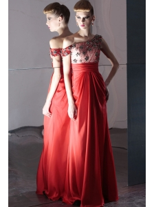 Coral Red Empire Off The Shoulder Floor-length Chiffon Beading Prom Dress