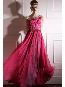 Hot Pink Empire One Shoulder Floor-length Chiffon Beading and Ruch Prom / Celebrity Dress