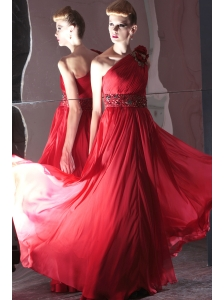 Red Empire One Shoulder Floor-length Chiffon Beading Prom / Evening Dress