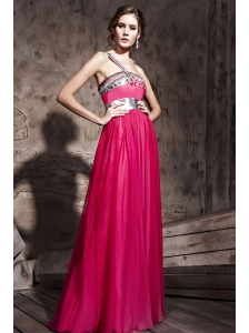 Hot Pink Empire One Shoulder Floor-length Chiffon Beading Prom / Party Dress