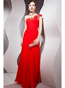 Red Empire One Shoulder Floor-length Chiffon Prom Dress