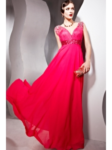 Coral Red Empire V- neck Floor-length Chiffon Beading Prom Dress