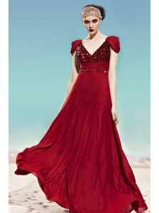 Red Empire V-neck Floor-length Chiffon Beading Prom Dress