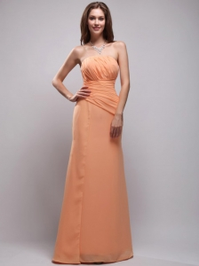 Romantic Empire Strapless Floor-length Chiffon Ruch Orange Bridesmaid Dress
