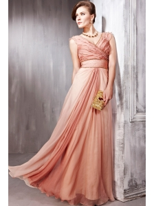 Rust Red Empire V- neck Floor-length Chiffon Pleat Prom Dress