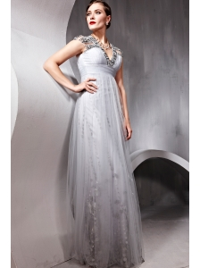 Grey Empire V-neck Floor-length Tulle Beading Prom / Evening Dress