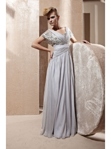 Grey Empire V-neck Floor-length Chiffon Ruch Prom Dress