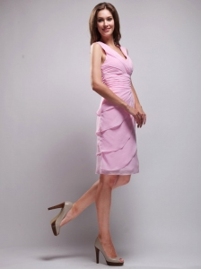 Sweet Column / Sheath V-neck Knee-length Chiffon Ruch Pink Bridesmaid Dress
